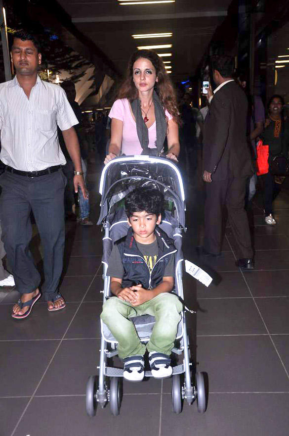 Suzanne With Son Snapped at Mumbai International Airport