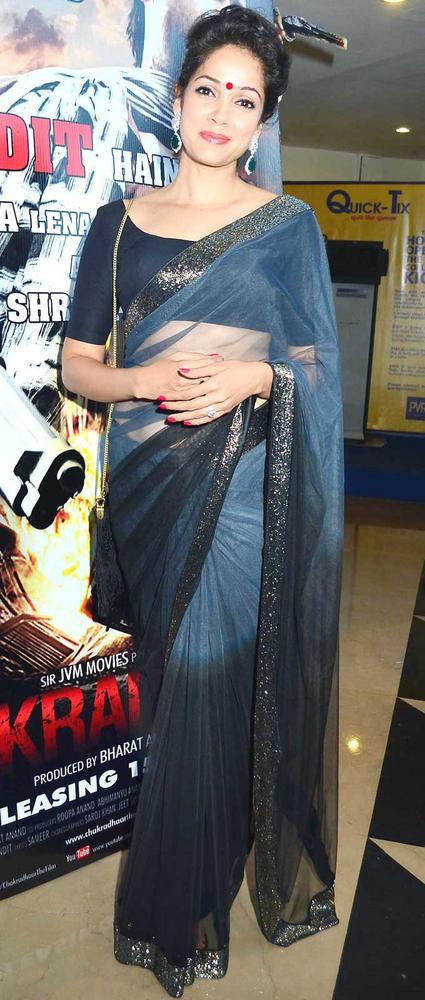 Vidya Malvade In Transparent Saree at Chakradhar Film Premiere