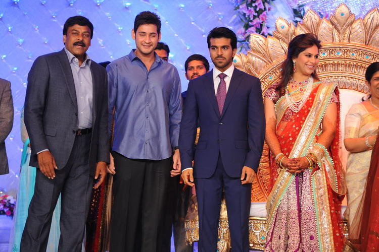 Mahesh Babu Poses To Photo Shoot at Ram Charan Wedding Reception