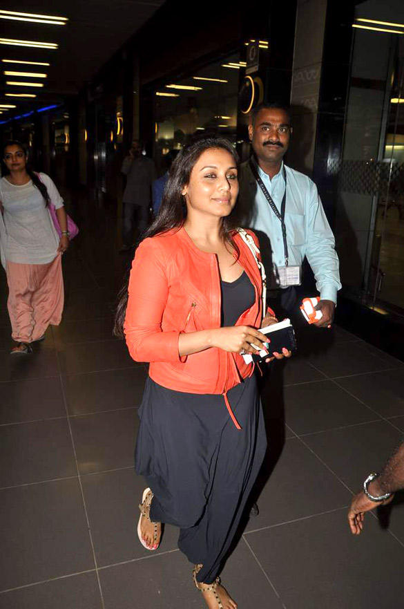Rani Mukherjee Snapped at Airport In Leather Jackets and Baggy Pant