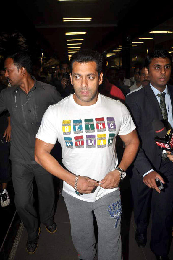 Salman Khan Was Spotted at Airport Casually Dressed in His Being Human T Shirt