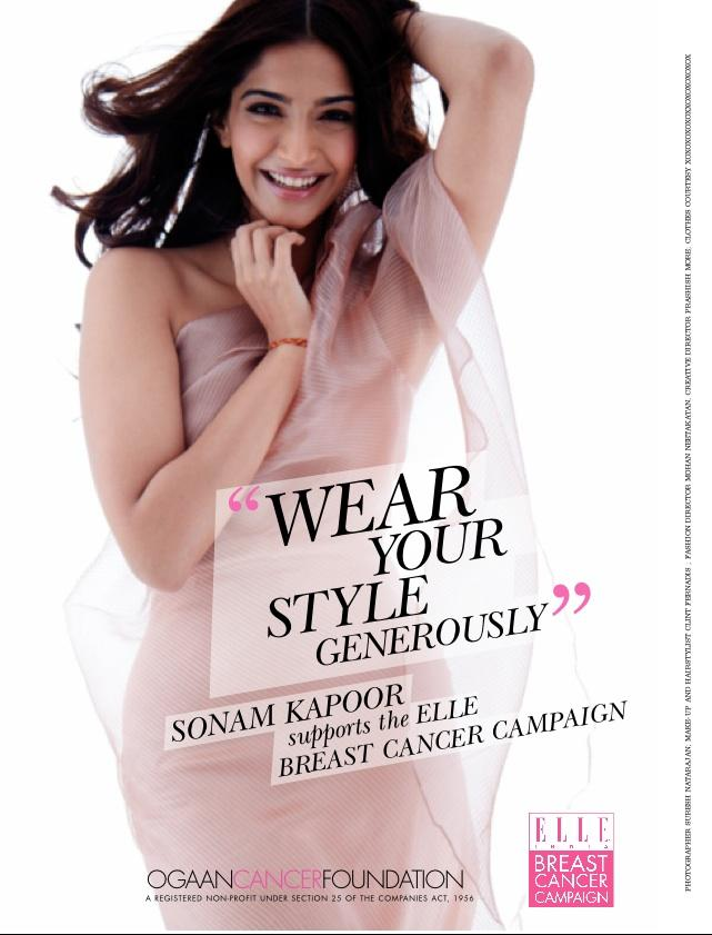 Sonam ELLE India Breast Cancer Foundation Print Campaign Photo Shoot