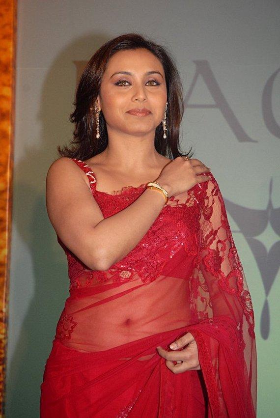 Rani Mukherjee In Red Transparent Saree Sexy Navel Pic