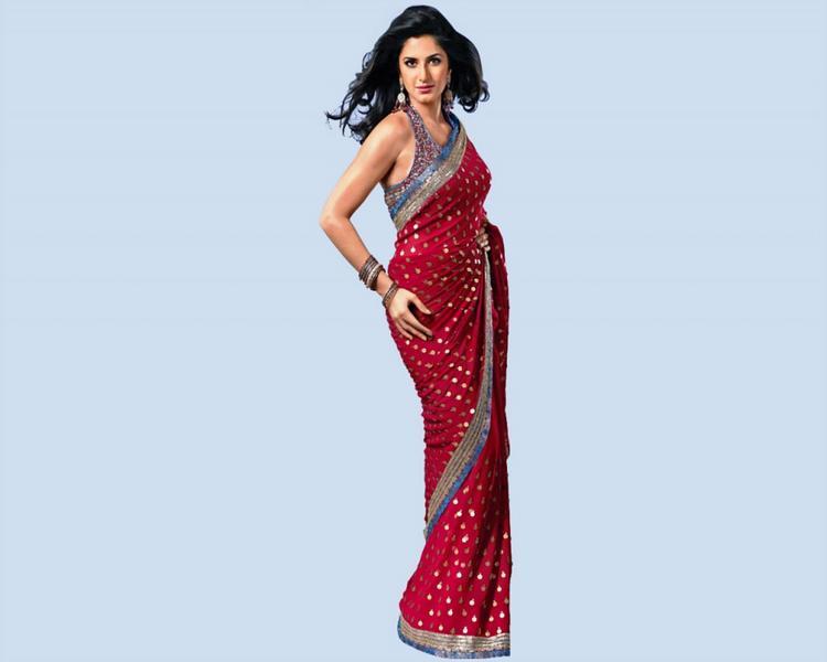 Katrina Kaif In Red Saree Sexy Still
