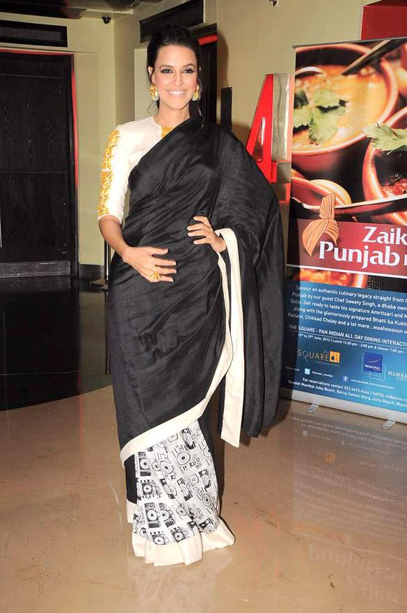 Neha Dhupia In Saree at Maximum Film Music Launch