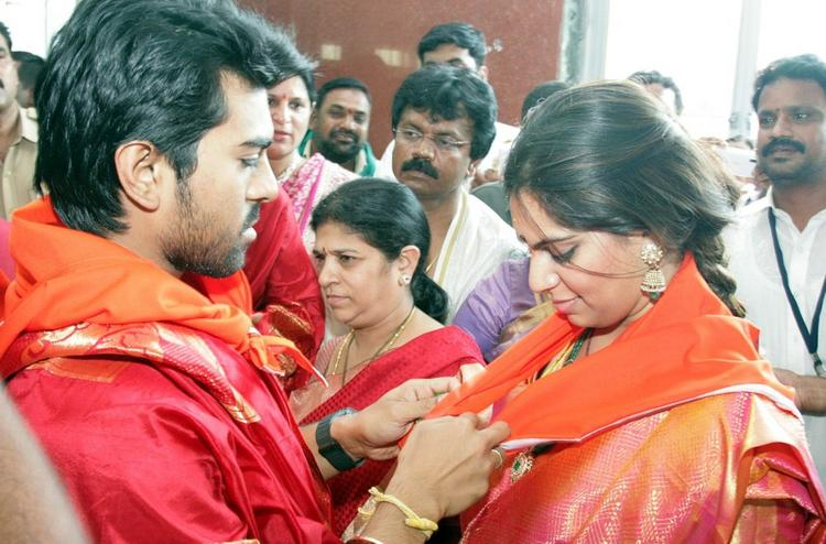 Newly Married Couple Ram Charan and Upasana Kamineni at Tirumala Tirupathi