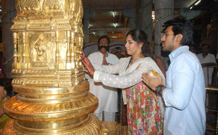 Ram Charan and Bride Visit Tirupati Temple