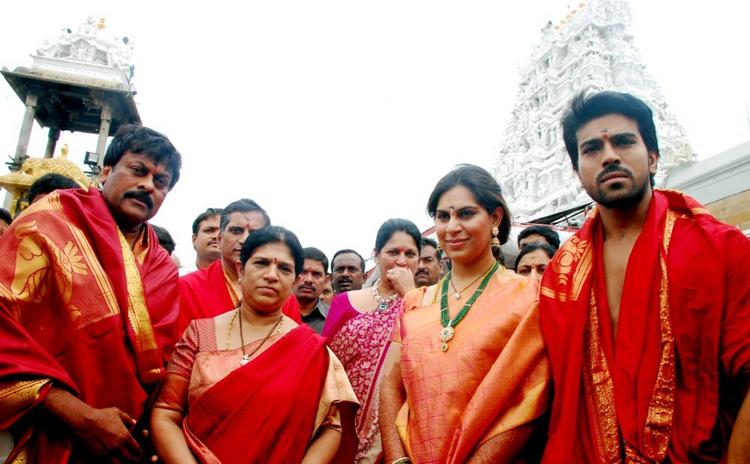 Ram Charan and Upasana at Tirumala Temple