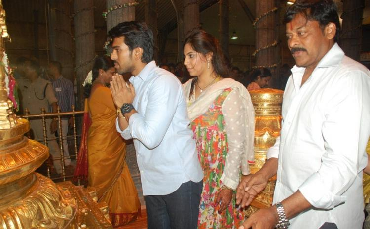 Ram Charan and Upasana at Tirupati Temple
