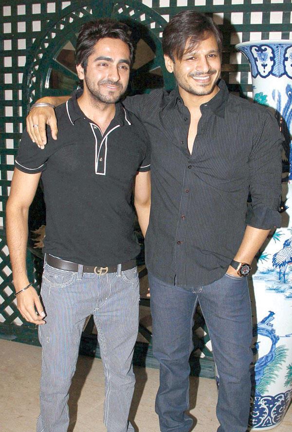 Ayushman and Vivek at Mika Singh Birthday Party