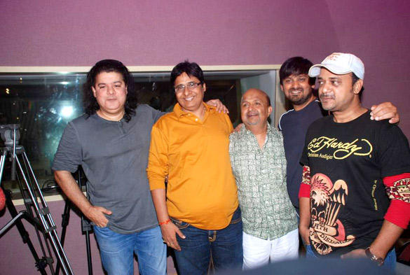 Sajid and Wajid With Others Poses at Himmatwala Songs Recording Event