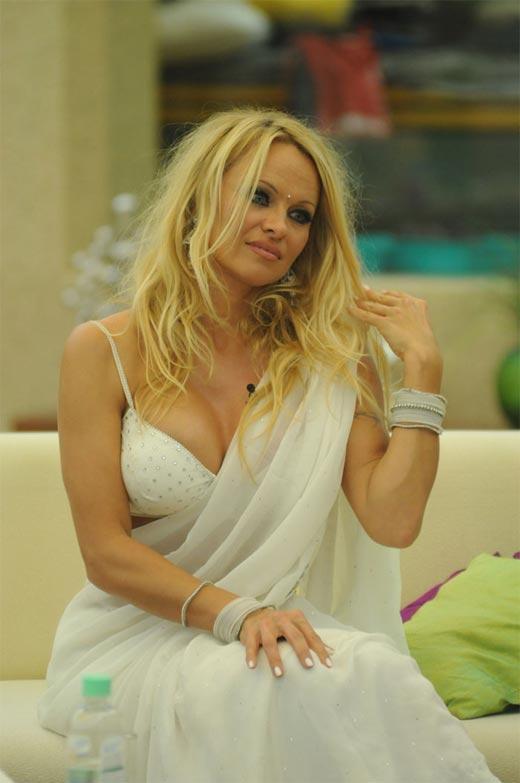 Pamela Anderson White Sexy Saree Still In Bigg Boss