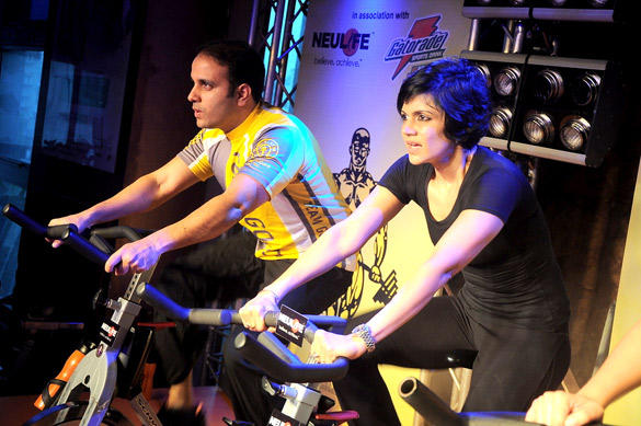 Mandira Bedi Takes Spinning To Another Level at Gold's Gym India SuperSpin