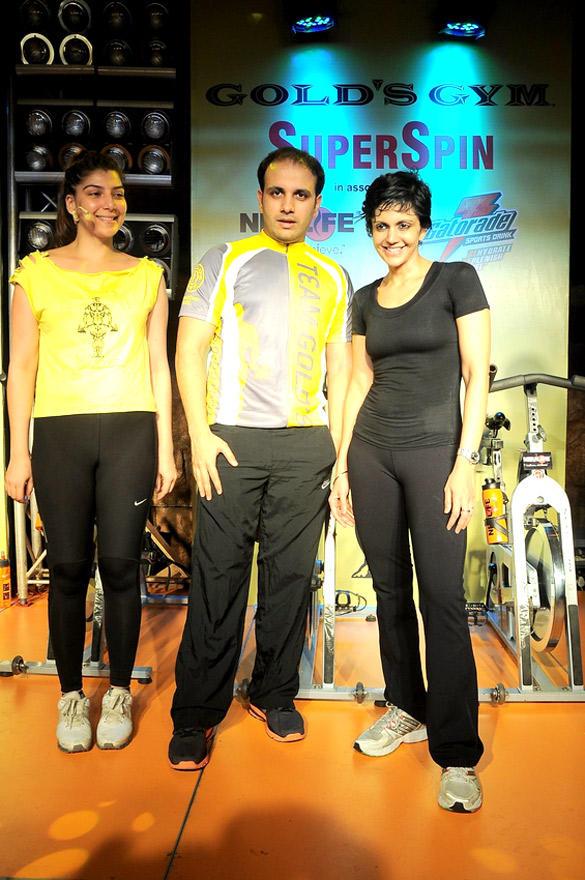 Vinita,Mistaya and Mandira Strikes a Pose at Gold's Gym India SuperSpin