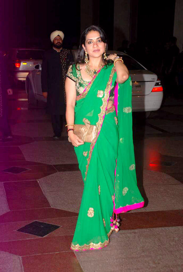 Shaina NC Looks Gorgeous In Green Saree at Esha's Sangeet Ceremony