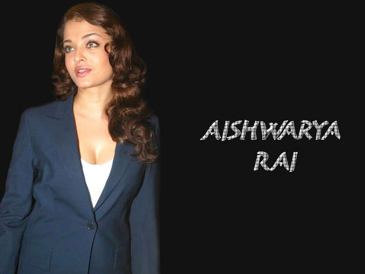 Aishwarya Rai In Blue Blazer Shiny Look Wallpaper