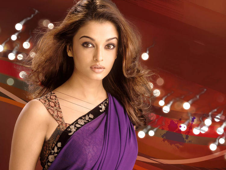 Aishwarya Rai Sexiest Still In Purple Color Saree