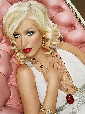 Christina Aguilera Red Lips Sexy Look Still
