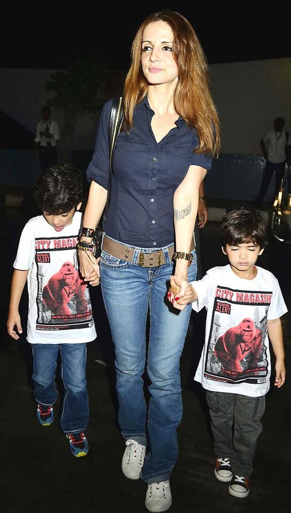 Sussanne With Two Sons Spotted at Mumbai Airport