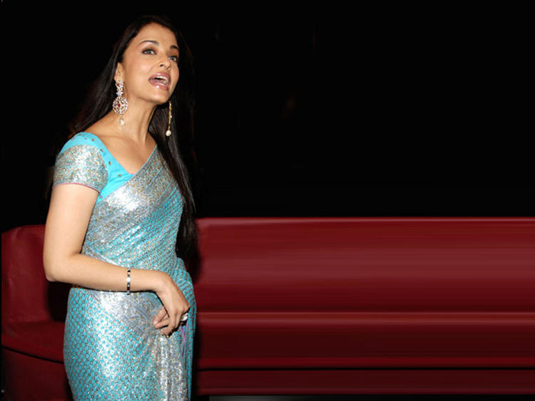 Aishwarya Rai Latest Still In Teal Color Saree