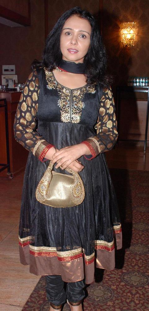 Suchitra In Black Churidar at Suraj Godambe Sangeet Ceremony Bash