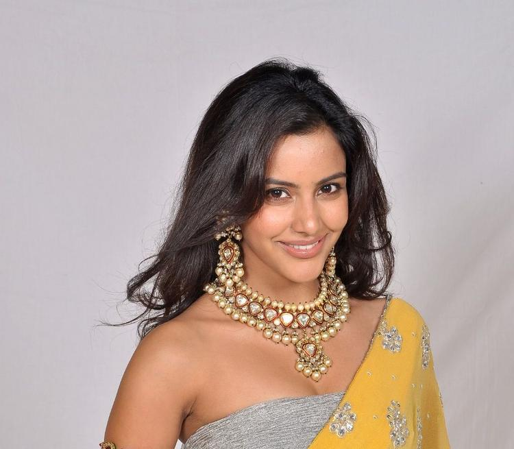 Priya Anand Chunky Jewellery Pic In Yellow Saree