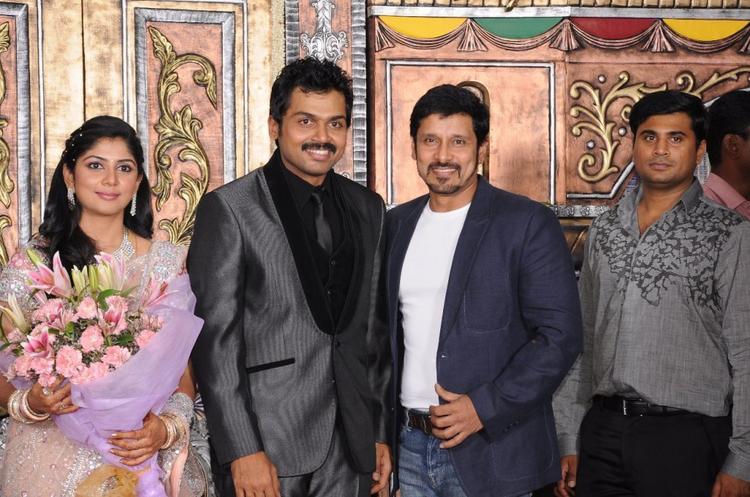 Vikram at Karthi and Ranjani Reception
