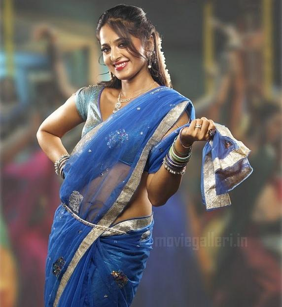 Anushka Shetty In Transparent Blue Saree Beauty Still