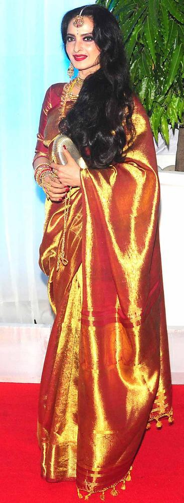 Rekha In Gorgeous Traditional Saree At Esha and Bharat Wedding Reception