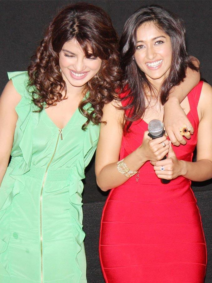 Priyanka and Ileana Smiling Pic at  Barfee Movie Trailer Launch