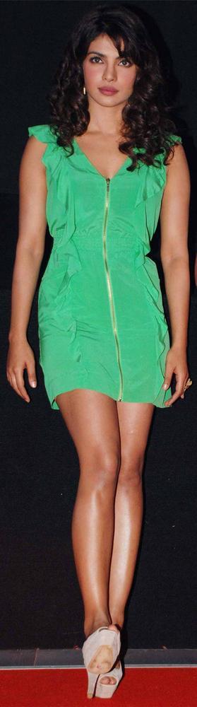 Priyanka Chopra Green Sexy Still at Barfee Trailer Launch