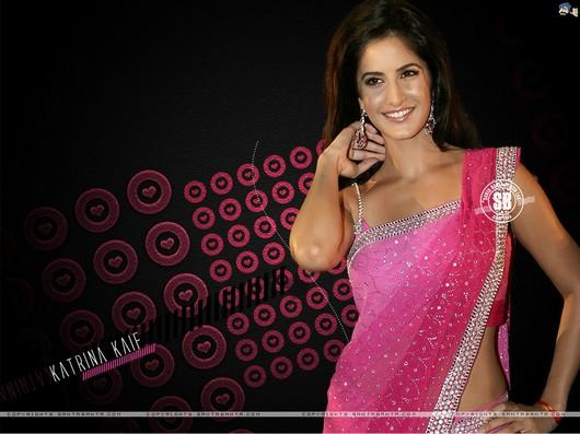 Katrina Kaif In Pink Sexy Saree Sweet Wallpaper