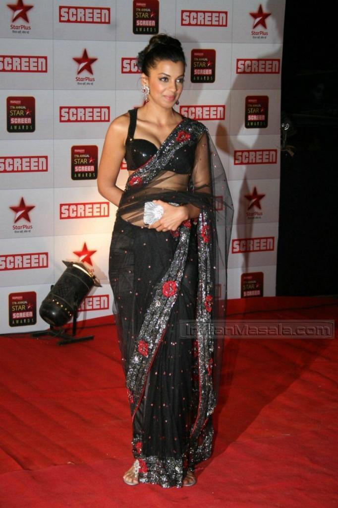 Mugdha Godse Transparent Black Saree Pic In Red Carpet