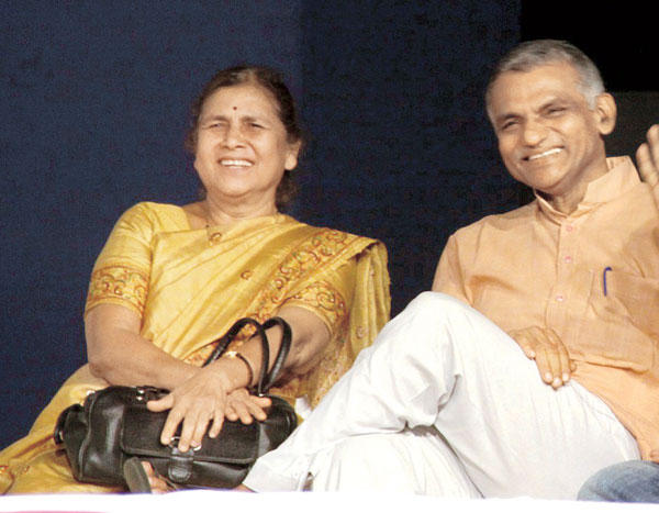 Dr Prakash Baba Amte and wife Dr Manda Amte at Preview of a Bilingual Film