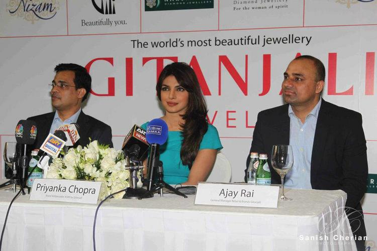 Priyanka and Ajay Rai at Gitanjali Jewellery Press Conference