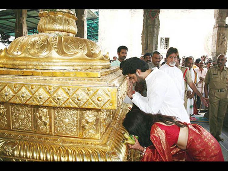 Aish and Abhi at Tirupati Temple
