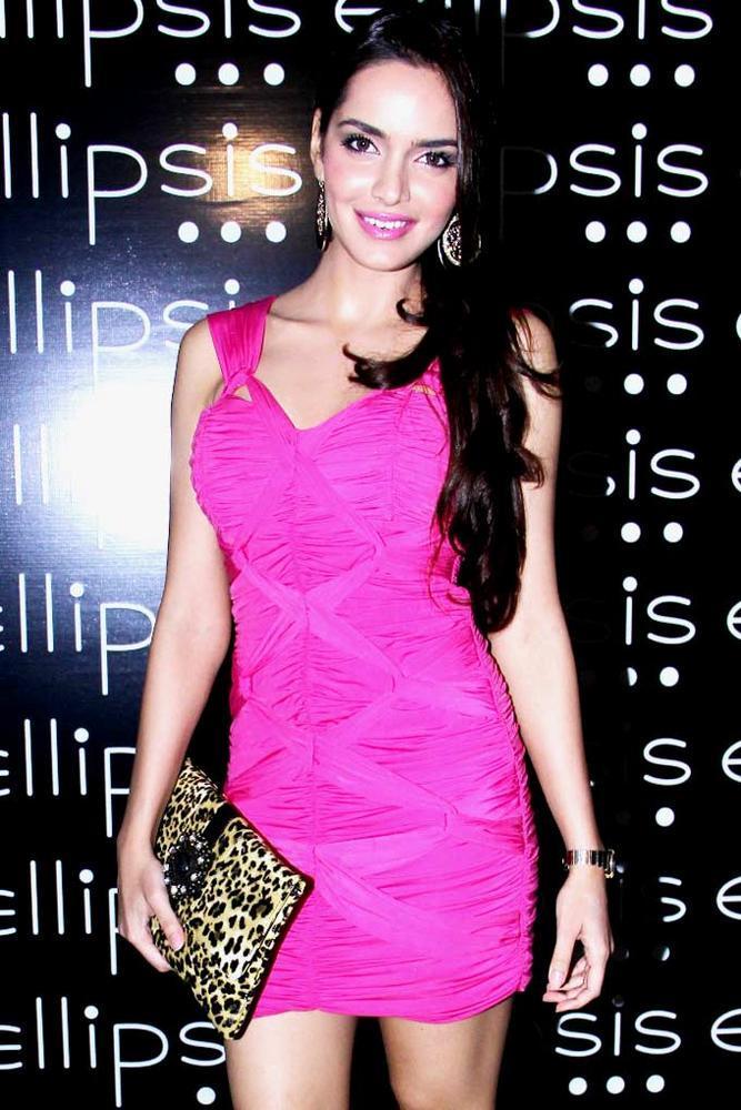 Shazahn Padamsee Pink Dress Still at Grand Opening Of Ellipsis Restaurant