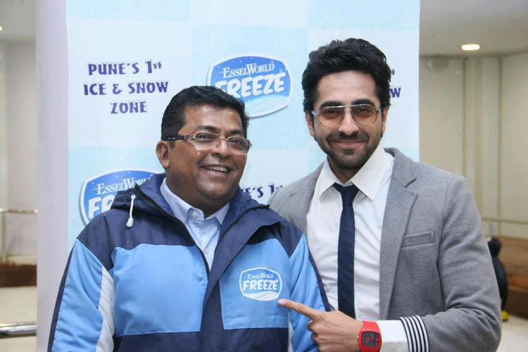 Ayushman and CEO Shirish Deshpande At Essel World FREEZE Opening