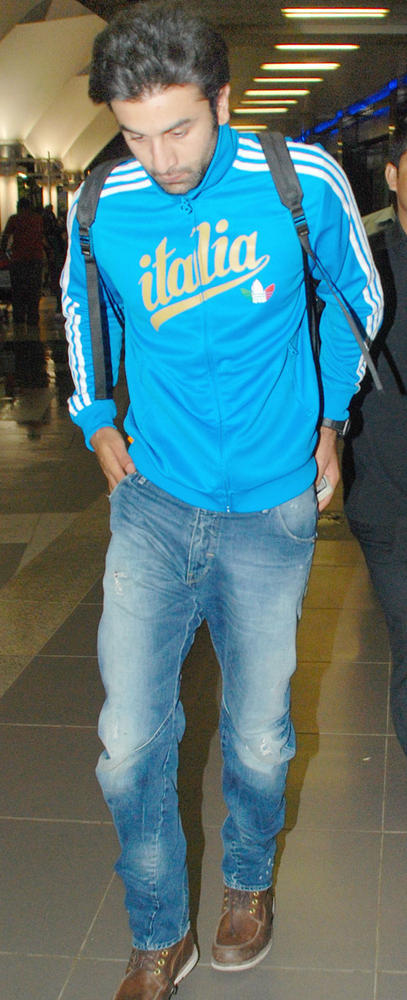Ranbir Kapoor Spotted at Airport In Italia T Shirt and Blue Jean