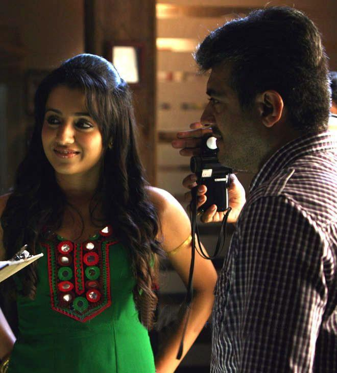 Ajith and Trisha In Mankatha Shooting Still