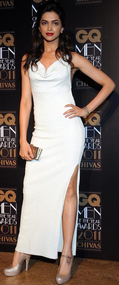 Deepika Strikes A Pose In A High Cut White Gown at GQ Men Awards 2011