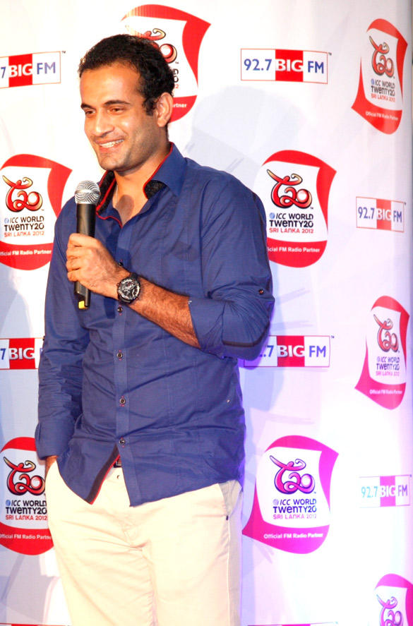 Irfan Pathan Speaks During T20 World Cup 2012 Trophy Launch Event