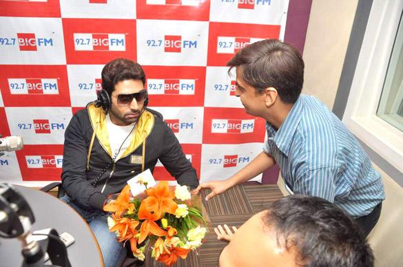 Abhishek With A  Bouquet At 98.7 BIG FM
