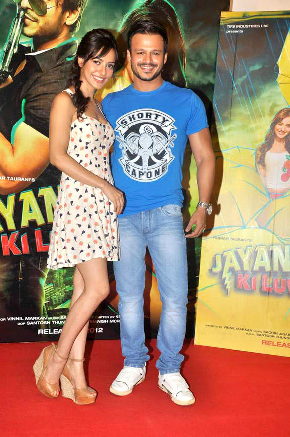 Neha And Vivek Smiling Pic At Jayanta Bhai Ki Luv Story Promo Launch