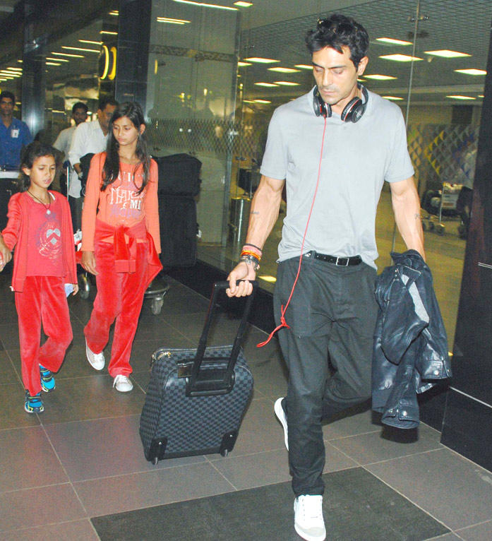 Arjun Rampal With His Daughters Spotted At The Airport