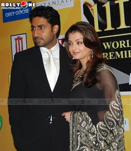 Aishwarya Black Saree Still With Abhishek