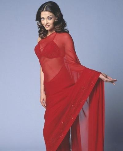 Aishwarya Rai Looks Hot In Red Saree and Bikini Blouse