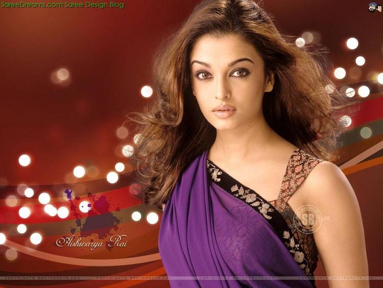 Elegant Aishwaray in Violet Saree Dazzling Still