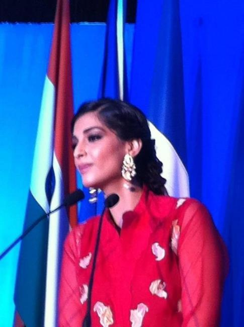 Sonam Kapoor in Red Dress at Fete Nationale