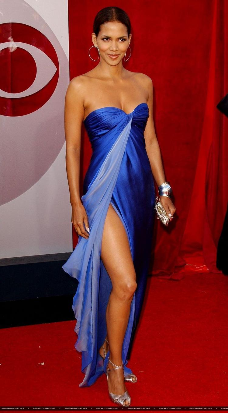 Halle Berry High Cut Blue Gown Stylist Photo